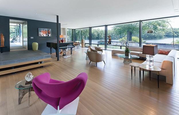 "Left Pink ""Ribbon Chair"" | Artifort Right Original Kagan Sofa | Warren Platner Coffee Table"