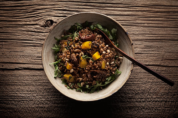 rye berry salad roasted butternut squash