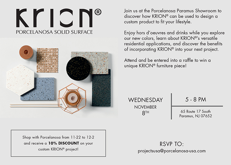 Join Porcelanosa Paramus Showroom to Discover KRION