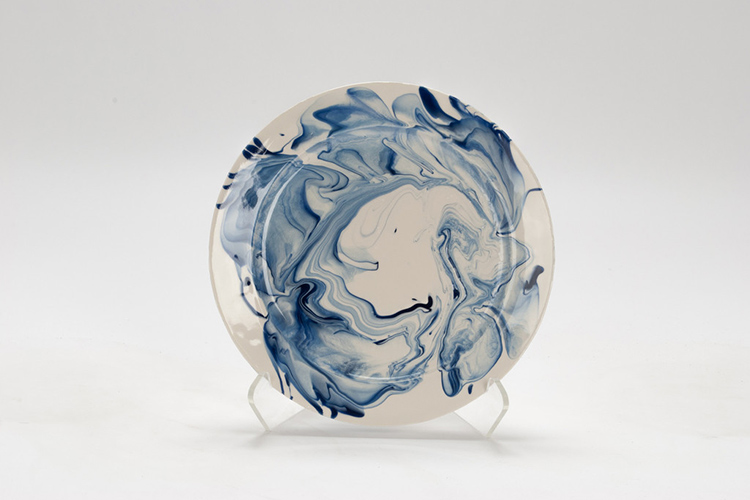 Hand Marbled Plates - Delft Blue