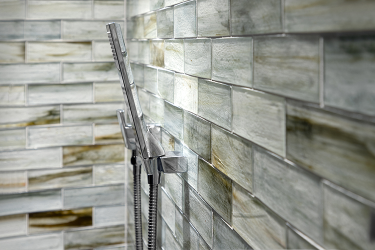 Basalt And Glass Tile Bathroom By Complete Tile Collection | Bold Color And  Dramatic Contrast Define This Incredible Master Bathroom Designed By Denes  Petoe ...