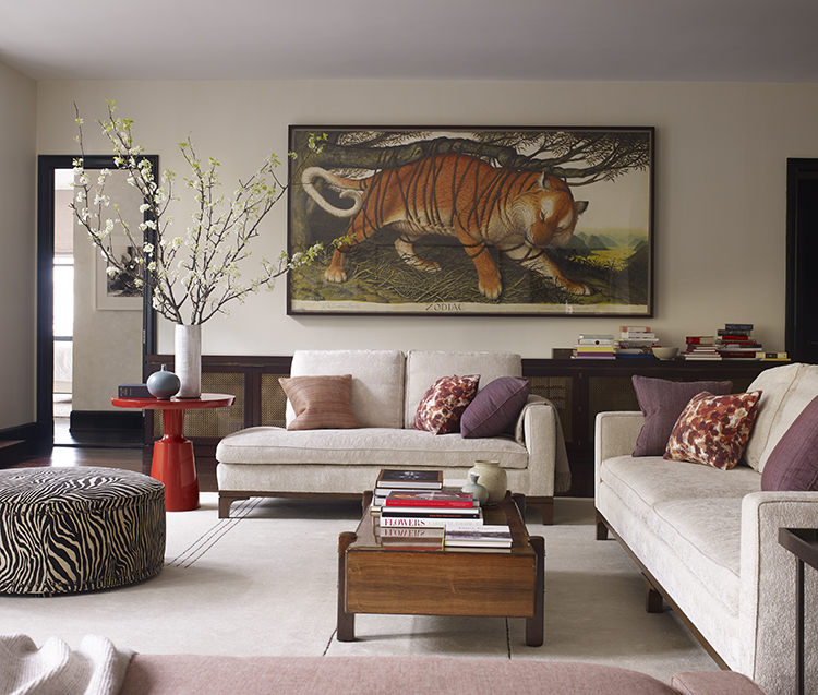 The Family Room Cabinetry Below Walton Ford S Gouache Of A Tiger Contains Home V Systems Fj Hakimian Carpet Is 100 Percent Easy Care Wool