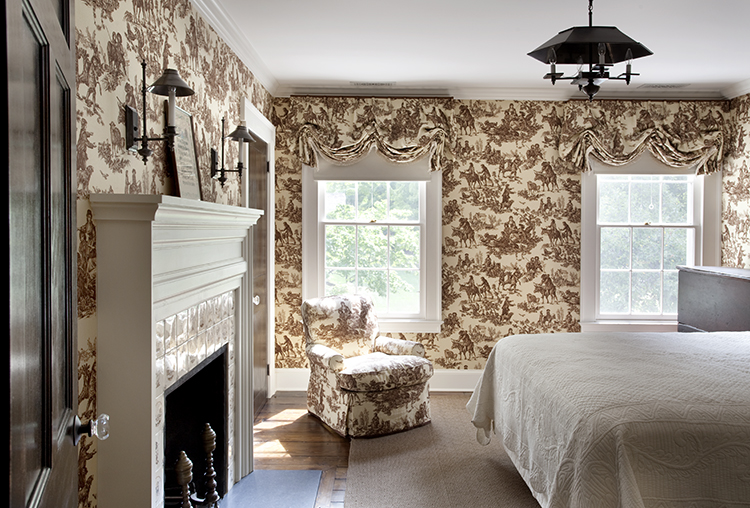 vintage bedroom, wallpaper, fireplace