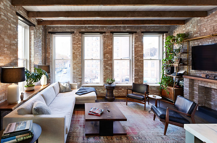 west village loft living room