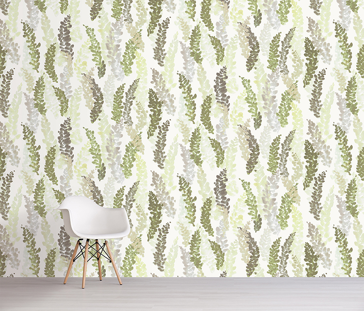 frances wallpaper in leaf by sarah von dreele