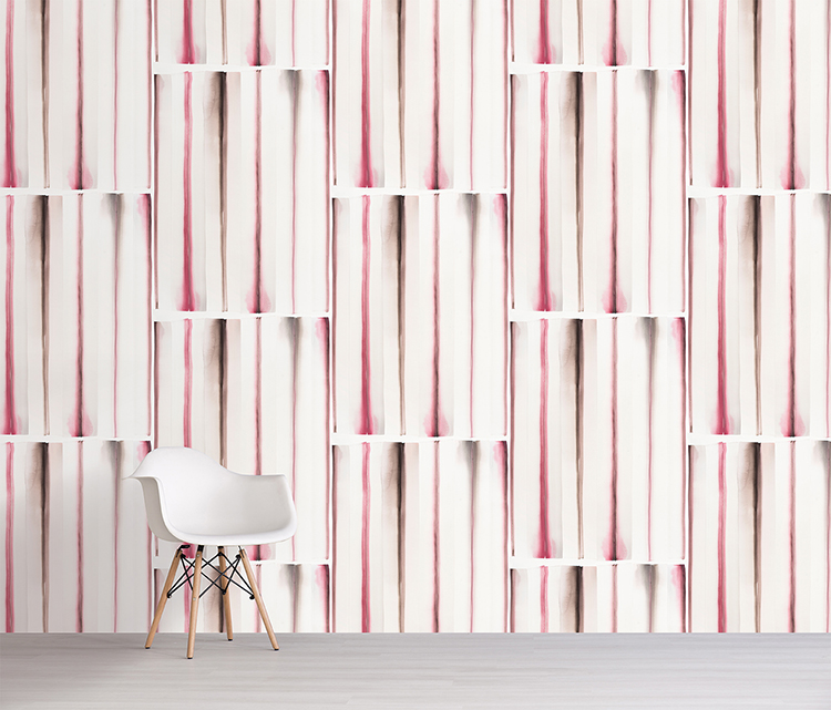 Summer wallpaper in rose by sarah von dreele