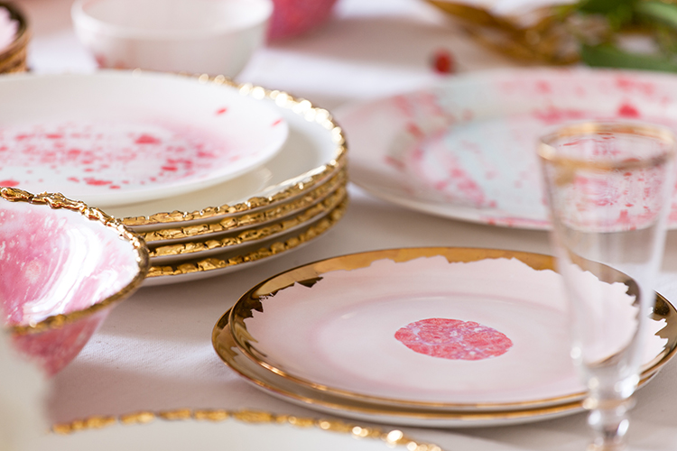 pink dishes holiday tablescape