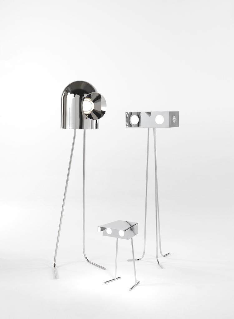 monochromatic decor metal lamps that resemble robots