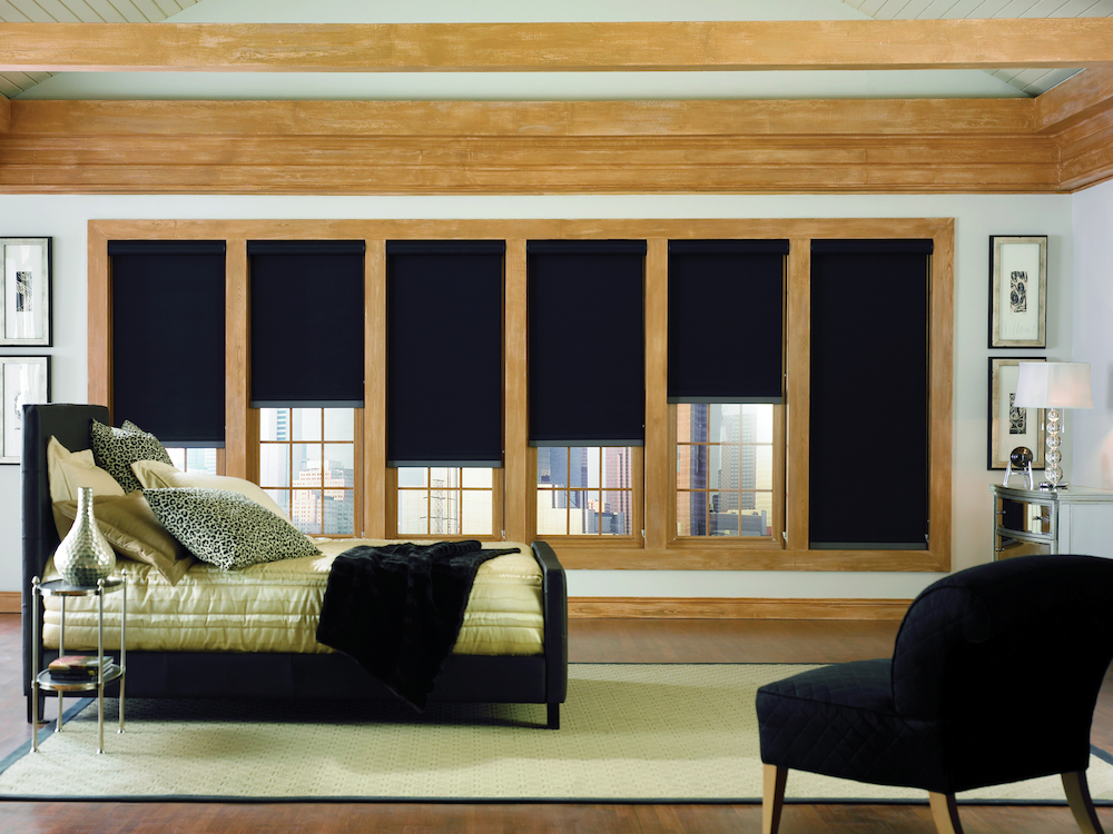 fall color ideas: black window shades in bedroom