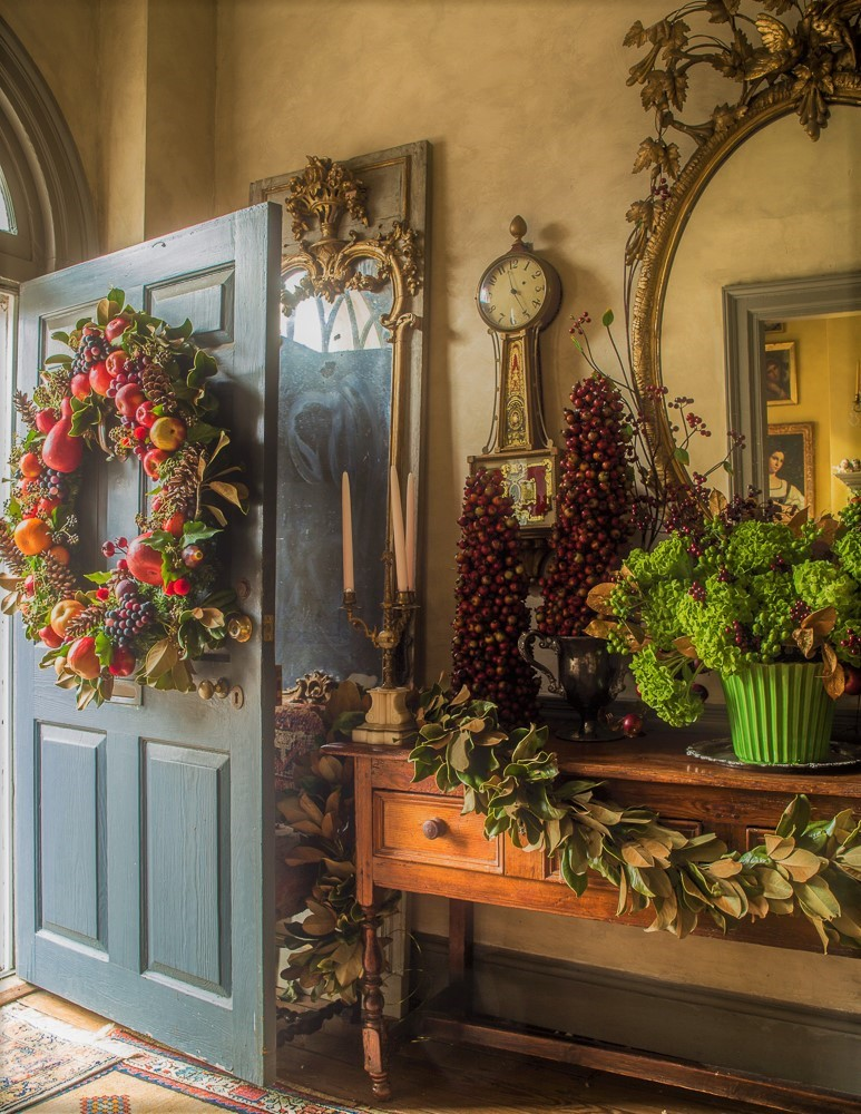 holiday wreaths of fruit and foliage