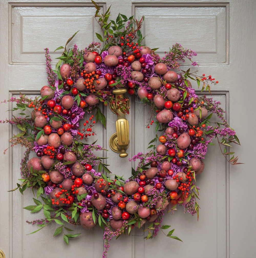 holiday wreaths made of potatoes, crab apples and nandina berries