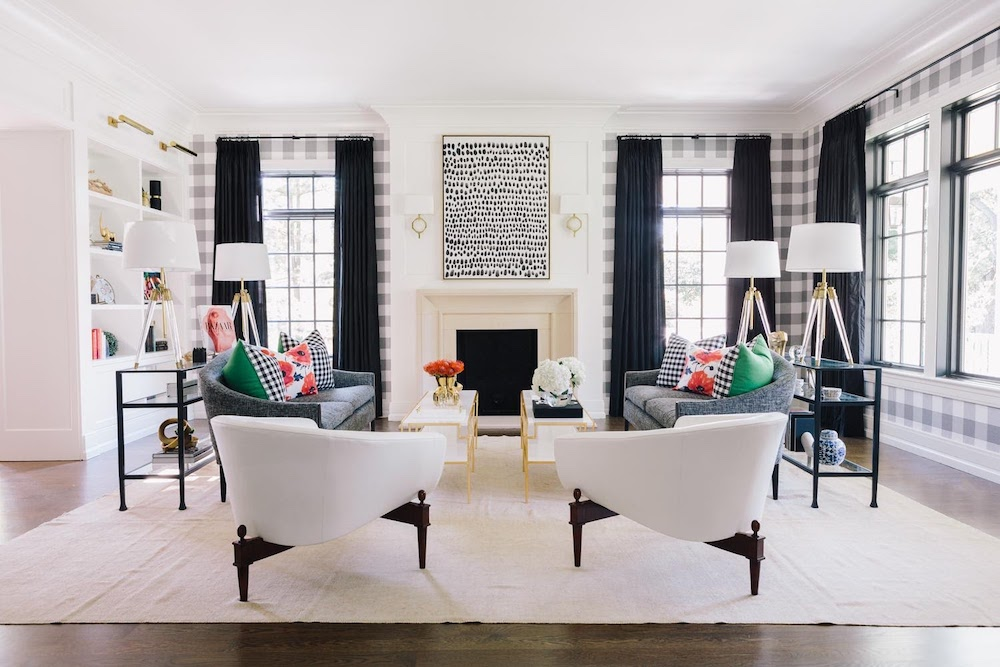 black and white living room with buffalo check wallpaper in Hinsdale home