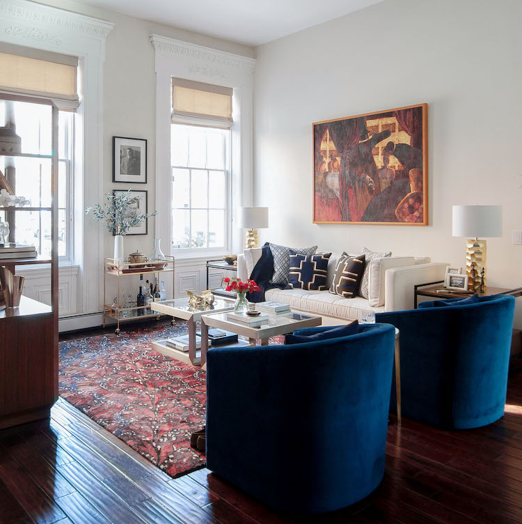 living room in an historic rittenhouse square house