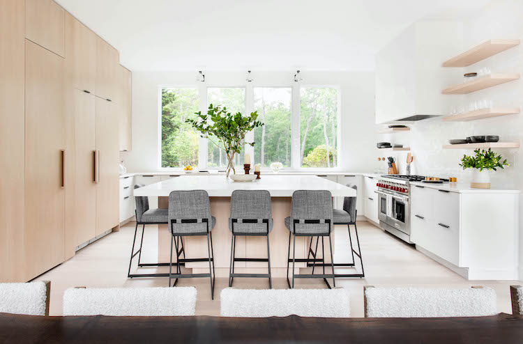 east hampton home white kitchen with natural wood cabinets